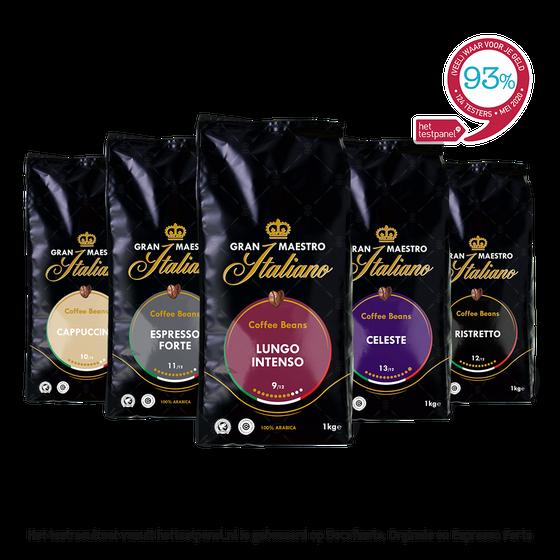 Koffiebonen proefpakket - Gran Maestro Italiano - Zuid Italië Krachtig & Intens - 5kg