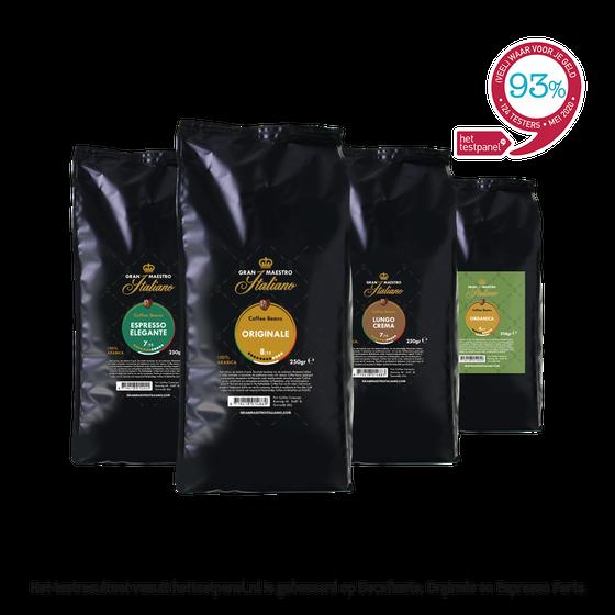 Koffiebonen proefpakket - Gran Maestro Italiano - Noord Italië Mild & Verfijnd - 1kg