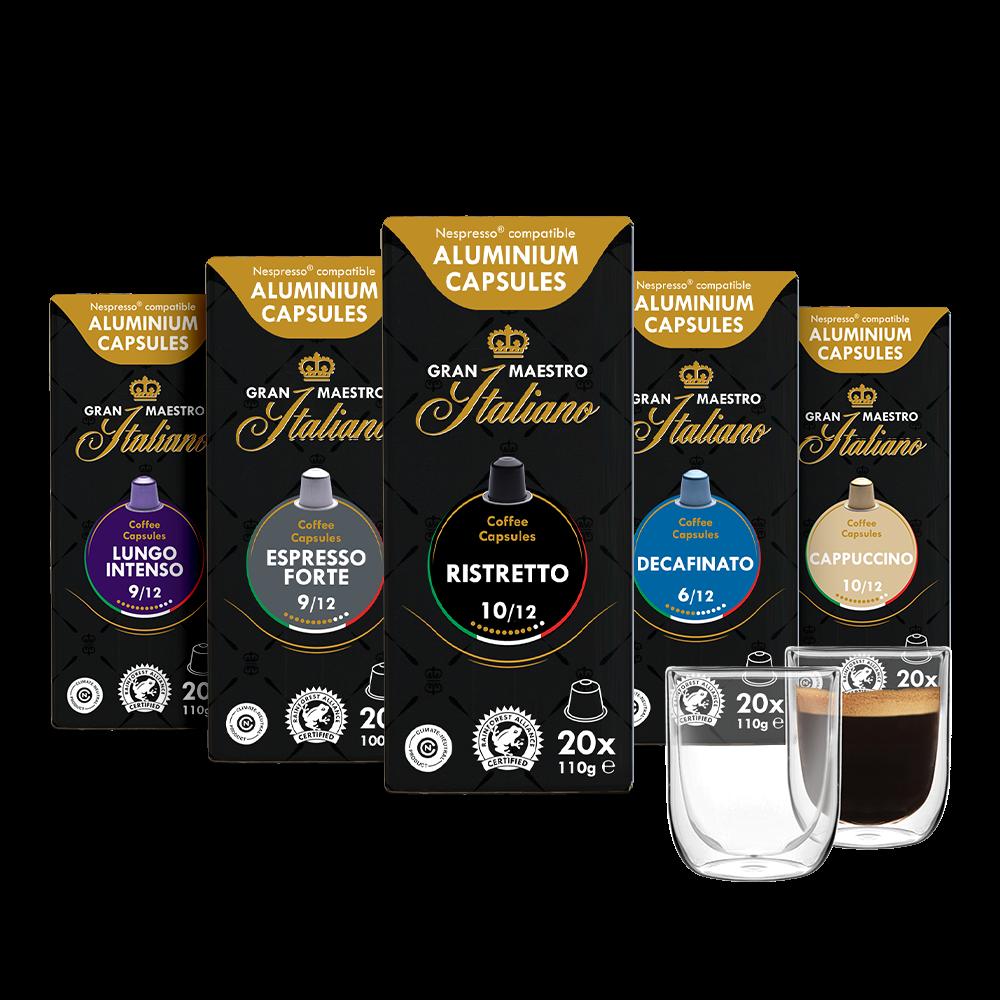 Capsules voor nespresso compatible proefpakket Gran Maestro Italiano Reis door Italië 100 cups