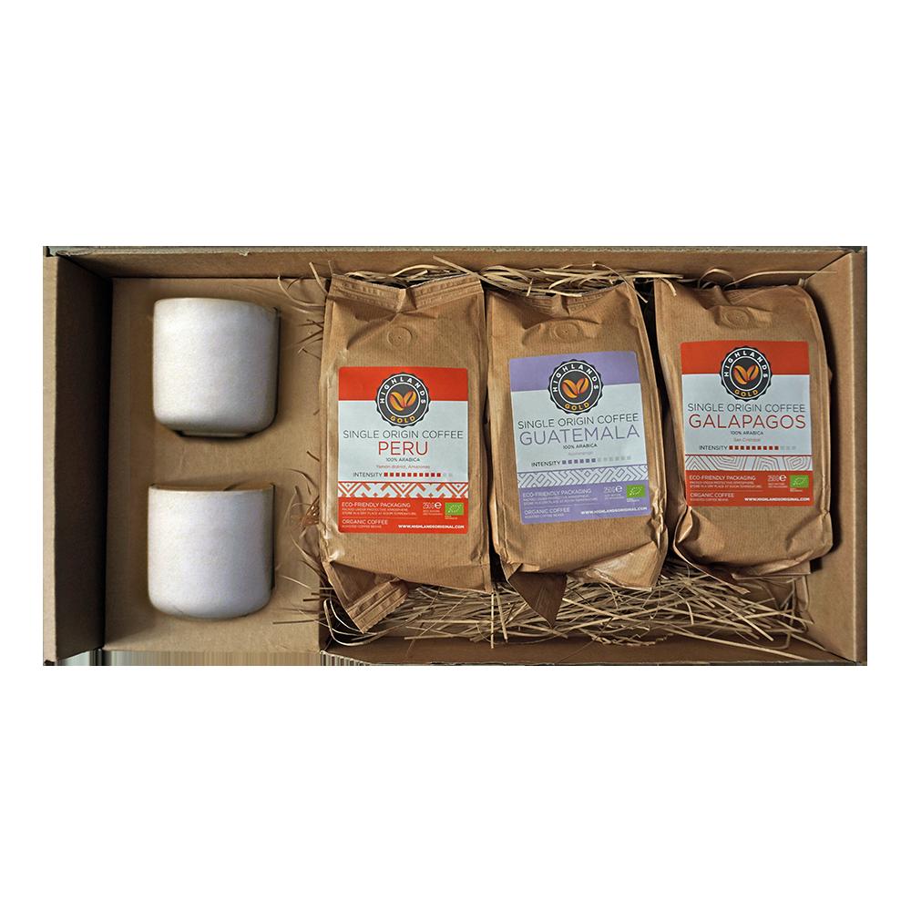 Koffiebonen Cadeauverpakking - Highlands Gold + 2 luxe koffiekopjes grijs