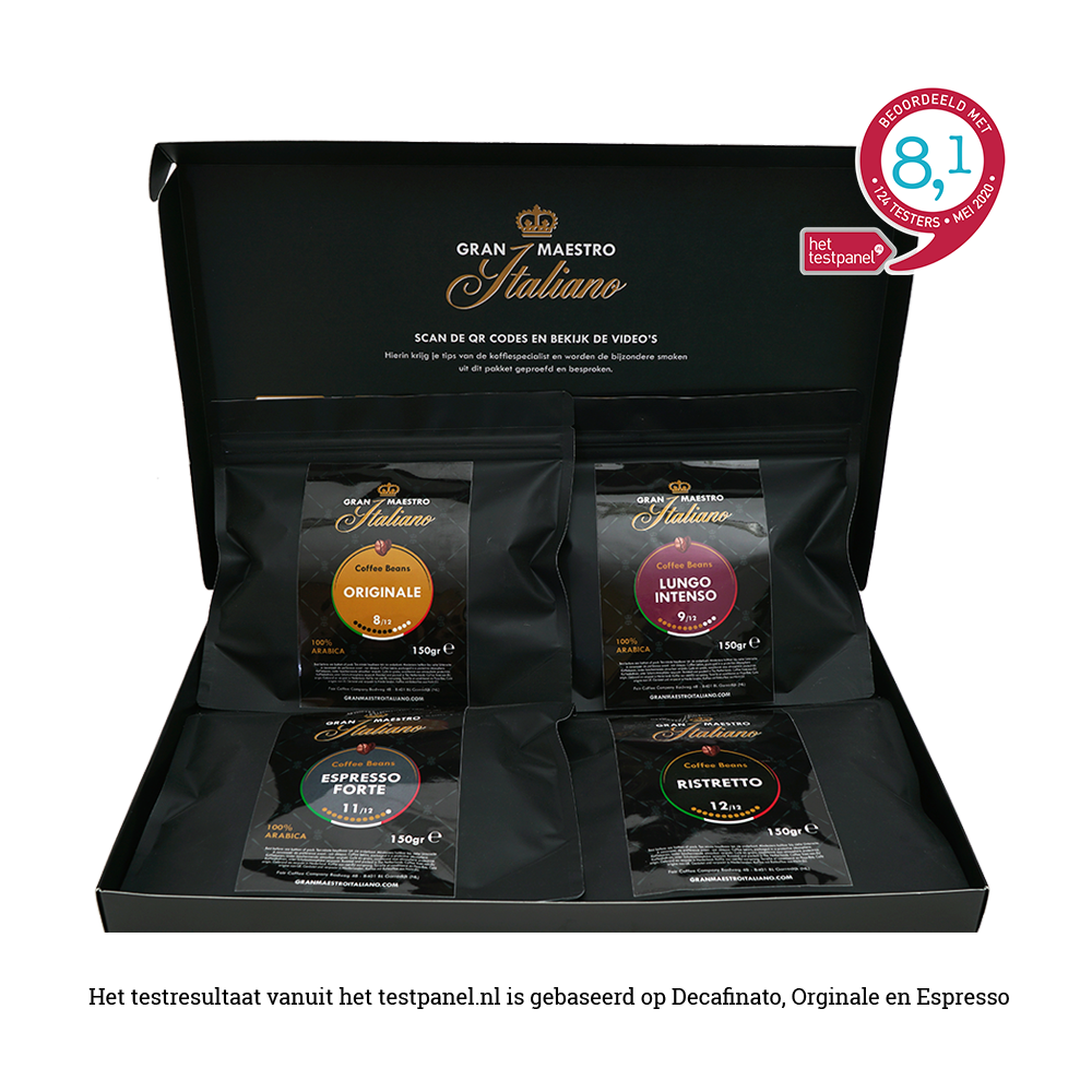 Gran Maestro Italiano - koffiebonen - brievenbuspakket - 4 x 150 gram