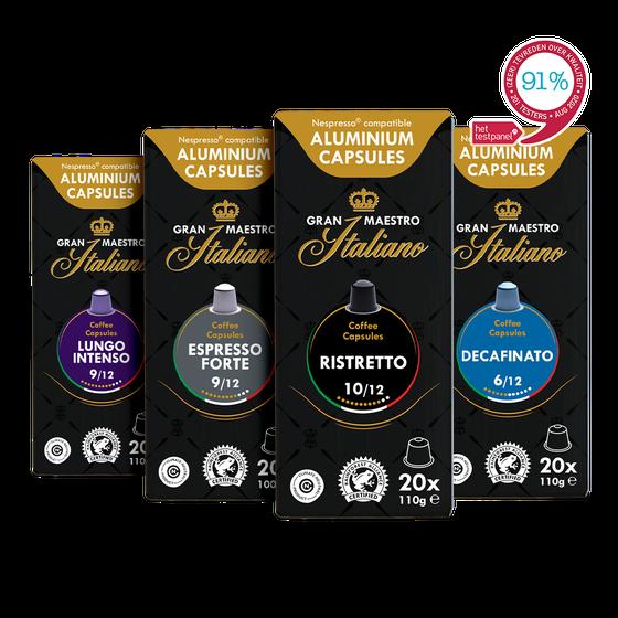 Capsules voor nespresso compatible proefpakket - Gran Maestro Italiano - Oriëntatie - 80 cups