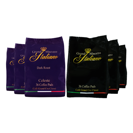 Senseo compatible koffiepads proefpakket - Grand Maestro Italiano - 216 pads