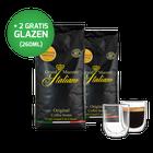 Proefpakket Grand Maestro Italiano - Edizione Limitata koffiebonen (2 kg) en 2 luxe dubbelwandige glazen