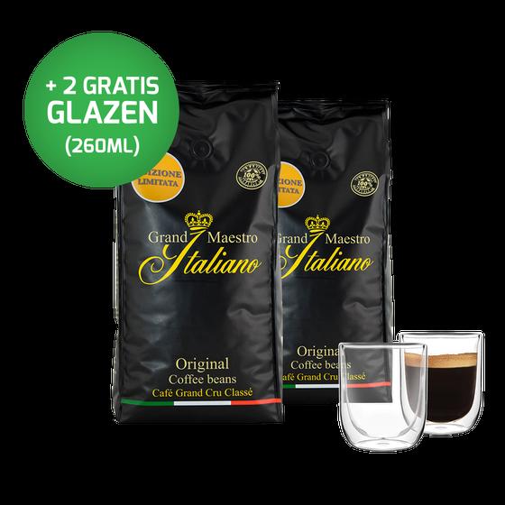 Voordeelpakket Grand Maestro Italiano - Edizione Limitata koffiebonen (2 kg) en 2 luxe dubbelwandige glazen