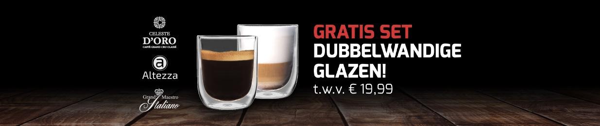 Gratis dubbelwandige glazen t.w.v. 19,99