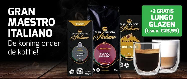 Gran Maestro Italiano koffie met 2 luxe dubbelwandige glazen t.w.v. €23,99!