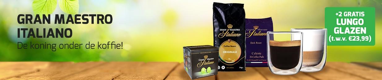 Grand Maestro Italiano koffie met 2 luxe dubbelwandige glazen t.w.v. €19,99!
