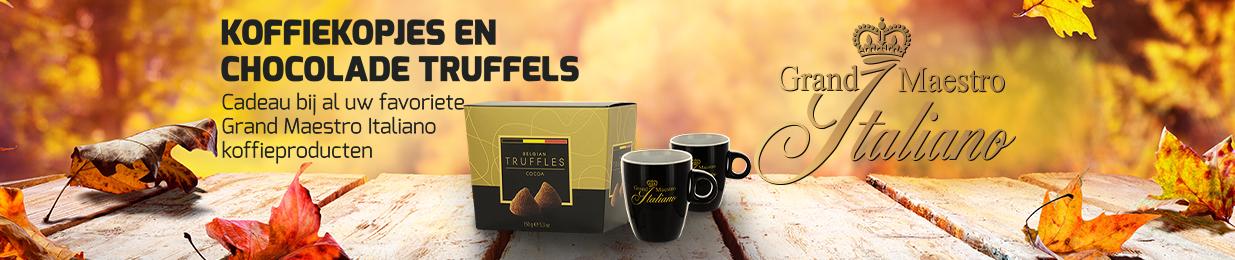 Grand Maestro Italiano koffie kopjes en chocolade truffels!